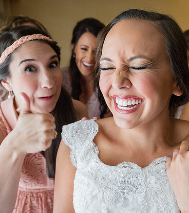 Die Braut und ihre besten Freundinnen.