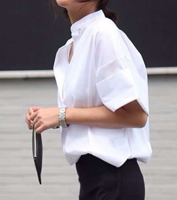Kurzärmeliges weißes Hemd