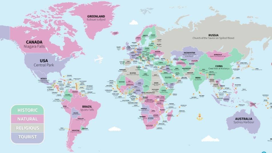 Geniale Weltkarte zeigt dir die besten Sehenswürdigkeiten