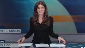 Tiefer Einblick Nachrichtensprecherin Wird Der Glastisch Zum