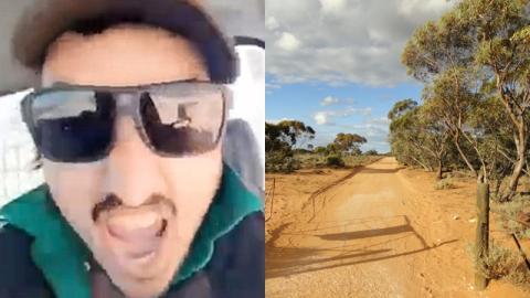 Mann filmt sich im Auto, dann rast er plötzlich auf eine Tierherde zu