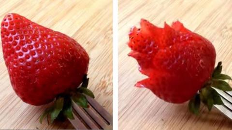 Schneiden sie ihre erdbeeren in rosenform eine einfache for Dekoration erdbeeren