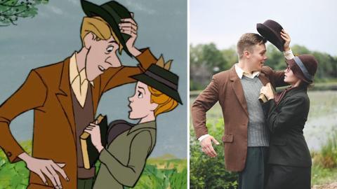 Dieses Paar stellt für seine Verlobung die Szene der ersten Begegnung aus dem Disneyfilm 101 Dalmatiner nach