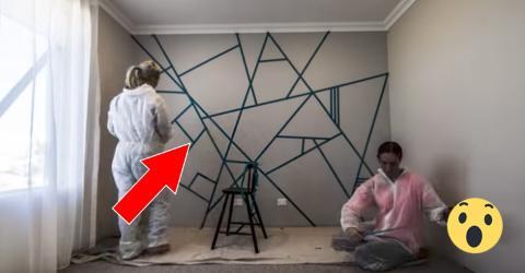 Sie bekleben eine Wand mit Klebeband. 30 Minuten später sind alle begeistert!