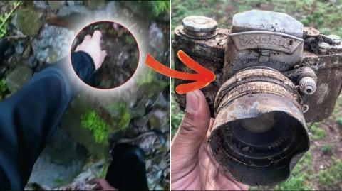 Bei einem Spaziergang mitten im Wald gräbt er einen 60 Jahre alten Fotoapparat aus. Das, was er darin findet, ist unglaublich!