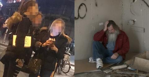 Die Mädchen nähern sich dem Obdachlosen. Was sie dann mit ihm tun, ist einfach nur hässlich.