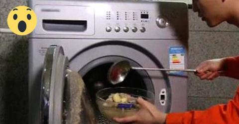 Er gibt Kartoffelsalat in die Waschmaschine. UNGLAUBLICH, diese Erfindung!