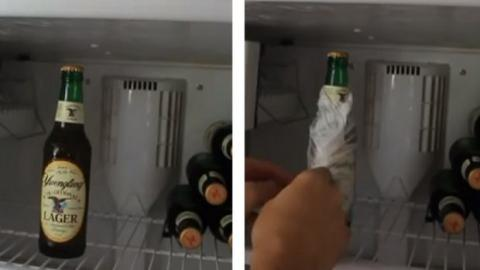 Kaltes Getränk gefällig? Mit diesem Trick kühlt ihr eure Flaschen schneller.
