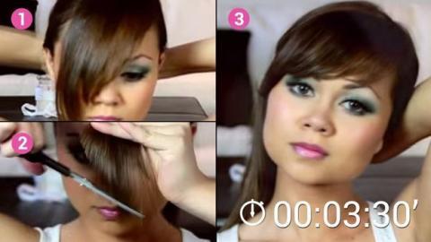Sie haben die Nase voll vom Friseur? Schneiden Sie Ihren Pony mithilfe dieser Methode selbst.