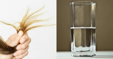 Sie steckt ihre Haarspitzen in ein Wasserglas. Danach weiß sie was los ist.