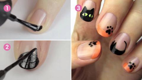 Machen Sie eine niedliche Nail-Art für Halloween.