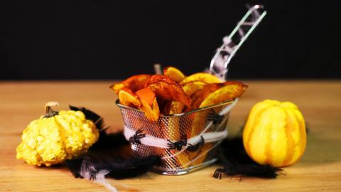 Kürbis-Pommes aus dem Ofen für deine Halloween-Party