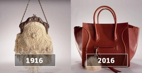 Die Entwicklung der Handtasche im Laufe der letzten 100 Jahre in zwei Minuten zusammengefasst
