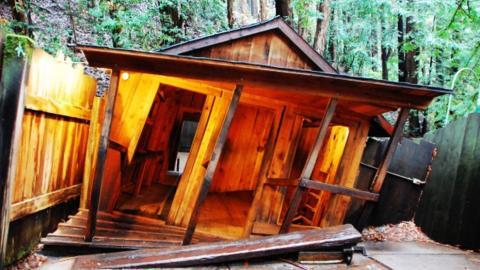 Mystery Spot: Das windschiefe Haus sieht schon von außen befremdend aus... Doch wenn man erst einmal drin ist, spielen alle Sinne verrückt!