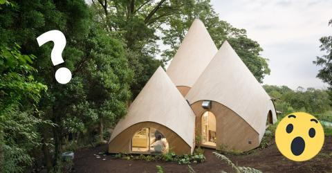 Hinter diesen japanischen Tipis im Wald verbirgt sich ein schönes Seniorenheim