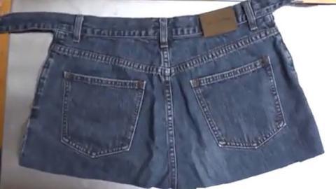 Recyceln Sie Ihre Jeans, um eine Schürze herzustellen! Das dauert nur einige Minuten.