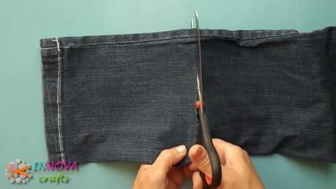 Werfen Sie Ihre alte Jeans nicht mehr weg. Sondern verwandeln Sie diese in einen Aufbewahrungskorb!