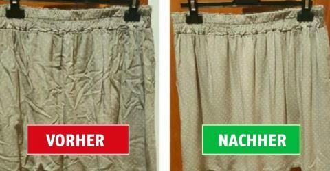 So bekommst du auch ohne Bügeleisen Falten aus deiner Kleidung! Und es spart auch noch Zeit