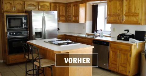 Sie hat ihre alte Küche satt! Für weniger als 85 Euro verwandelt sie sie komplett!