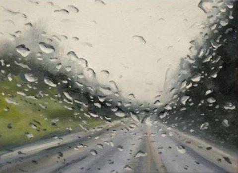 Künstler malt Bilder, die nach echtem Regen aussehen