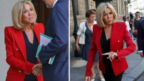Brigitte Macrons neuer Look mit schulterbetonten Blazern