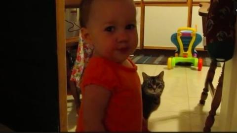 Dieses kleine Mädchen unterhält sich mit seiner Katze... ein herzallerliebster Dialog!
