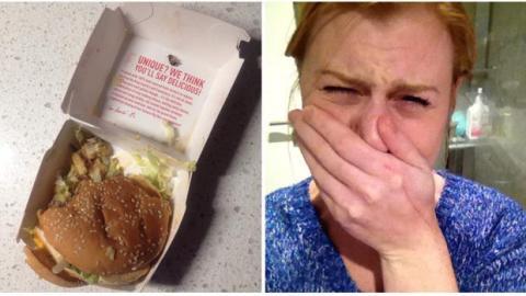 Sie findet das Ekligste überhaupt auf ihrem Hamburger!