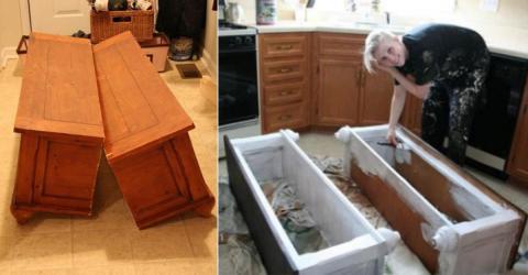 Sie verwandelt einen alten Tisch in zwei praktische Dielenbänke