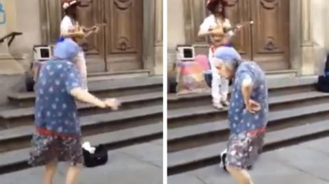 Diese Omi zieht eine unglaubliche Show ab, als sie Musik auf der Straße hört