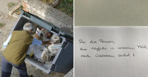 Ein Obdachloser erhält das Verbot von einem Restaurantbesitzer im Müll nach Essen zu suchen