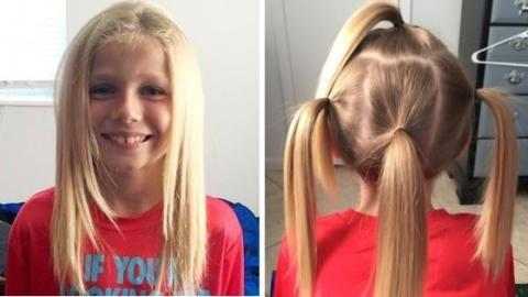Dieser kleine Junge lässt sich die Haare lang wachsen, um Kindern mit Krebs zu helfen