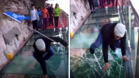 Die Taiheng-Glasbodenbrücke in China: Das Glas splittert unter den Füßen der Touristen