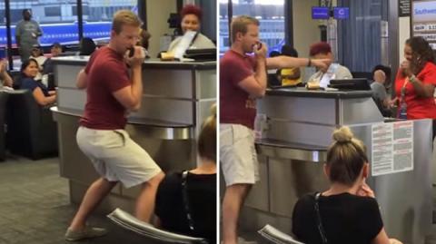 Ein Flugreisender zieht am Flughafen eine total verrückte Show ab. Die Reaktion vom Flugpersonal ist nur verständlich!
