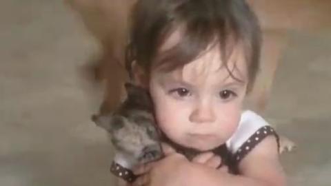 Reaktion eines kleinen Mädchens, als es ein Kätzchen geschenkt bekommt