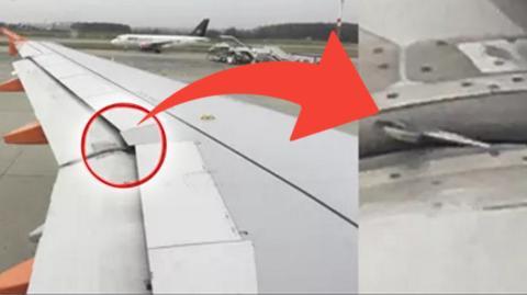 Einem aufmerksamen Passagier an Bord eines Flugzeugs fällt ein ungewohntes Objekt am Flügel auf