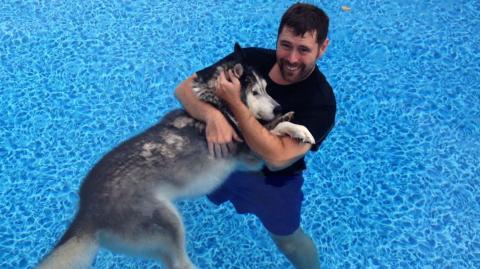 Dieser Mann hat seinen Husky gerettet, indem er ihn mit in den Pool nimmt.