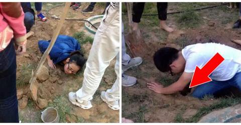 Chinesische Studenten retten eine lebendig begrabene Hunde-Familie!