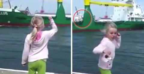 Dieses kleine Mädchen möchte das Schiff zum Hupen bringen. Doch damit hat sie nicht gerechnet!