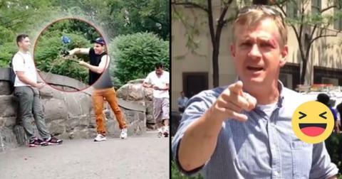 Dieser junger Mann amüsiert sich, indem er Selfie-Sticks von Touristen mit einer Gartenschere durchschneidet!