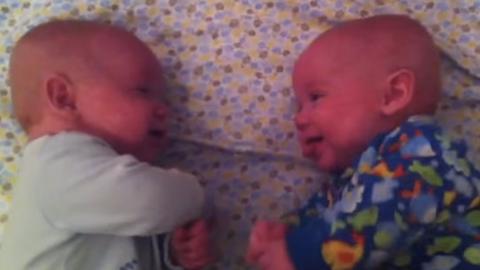Wenige Monate alt: Dieses Zwillingspaar hat eine ganz besondere Art der Kommunikation
