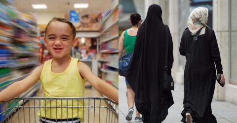 So reagiert 4-Jähriger auf eine Burka-Frau im Supermarkt