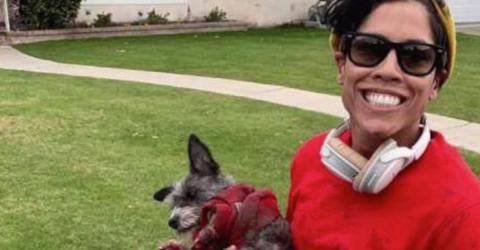 Sie bindet ihren Hund am Roller fest - und tritt aufs Gas