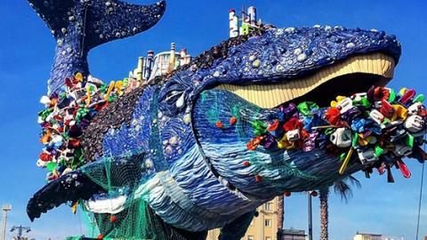 Wal voller Plastikmüll: Künstler nutzt Karneval für wichtige Botschaft