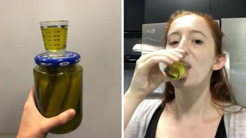 Aus einem bestimmten Grund trinkt sie jeden Tag ein Glas Gurkenwasser