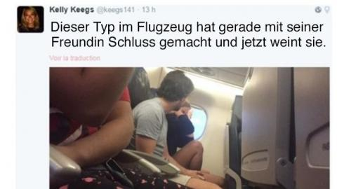 Sie twitterte live die hässliche Trennung eines Pärchens aus einem Flugzeug und bringt damit Tausende Twitternutzer zum Lachen.