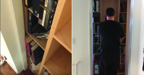 Selbstgebaut: Hinter dieser Bücherwand versteckt sich eine Geheimtür!