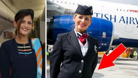 Warum das Flugpersonal die Passagiere bei der Begrüssung mit den Händen auf dem Rücken empfängt