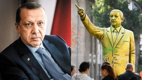 Goldene Erdogan-Statue in Deutschland: Erste Zwischenfälle