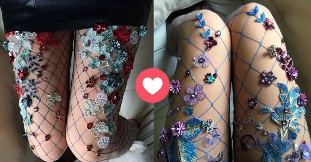 Die traumhaft bestickten Strumpfhosen von Lirika Matoshi sind gerade der Hit im Netz Etsy