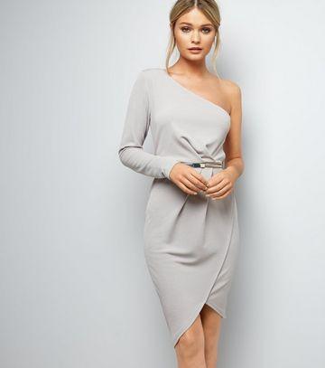 b9d3aafd7ceaf4 Kleider für die Hochzeit: Asymmetrisches graues Abendkleid, New Look